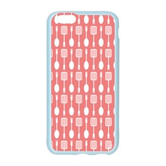 Coral And White Kitchen Utensils Pattern Apple Seamless iPhone 6 Case (Color)