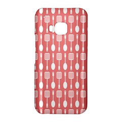 Coral And White Kitchen Utensils Pattern HTC One M9 Hardshell Case