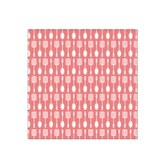 Coral And White Kitchen Utensils Pattern Satin Bandana Scarf