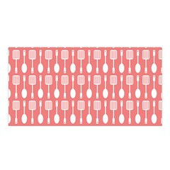 Coral And White Kitchen Utensils Pattern Satin Shawl