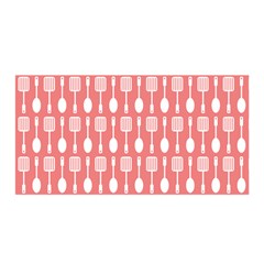 Coral And White Kitchen Utensils Pattern Satin Wrap