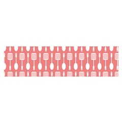 Coral And White Kitchen Utensils Pattern Satin Scarf (Oblong)