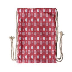 Coral And White Kitchen Utensils Pattern Drawstring Bag (small)