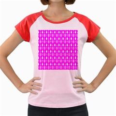 Purple Spatula Spoon Pattern Women s Cap Sleeve T-Shirt