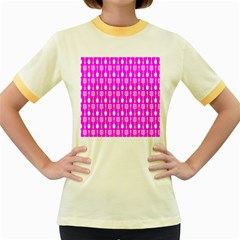 Purple Spatula Spoon Pattern Women s Fitted Ringer T-Shirts