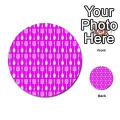 Purple Spatula Spoon Pattern Multi Purpose Cards (round)
