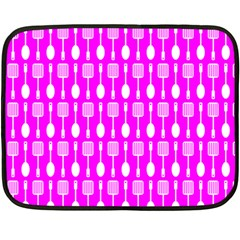 Purple Spatula Spoon Pattern Fleece Blanket (Mini)