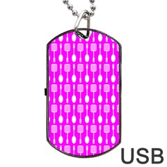 Purple Spatula Spoon Pattern Dog Tag USB Flash (Two Sides)