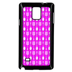 Purple Spatula Spoon Pattern Samsung Galaxy Note 4 Case (Black)