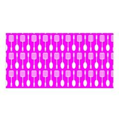 Purple Spatula Spoon Pattern Satin Shawl