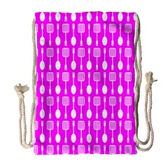 Purple Spatula Spoon Pattern Drawstring Bag (Large)