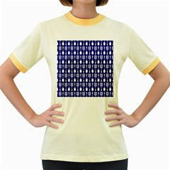 Indigo Spatula Spoon Pattern Women s Fitted Ringer T-Shirts