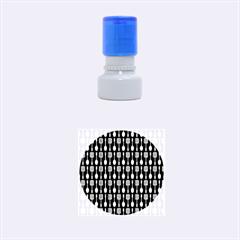 Indigo Spatula Spoon Pattern Rubber Round Stamps (small)