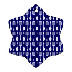 Indigo Spatula Spoon Pattern Snowflake Ornament (2-Side)