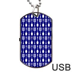 Indigo Spatula Spoon Pattern Dog Tag USB Flash (Two Sides)