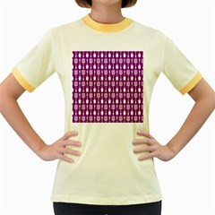 Magenta Spatula Spoon Pattern Women s Fitted Ringer T-Shirts