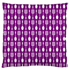 Magenta Spatula Spoon Pattern Large Flano Cushion Cases (Two Sides)