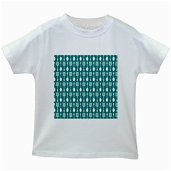 Teal And White Spatula Spoon Pattern Kids White T Shirts