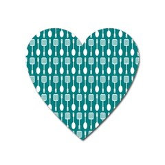 Teal And White Spatula Spoon Pattern Heart Magnet