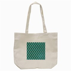 Teal And White Spatula Spoon Pattern Tote Bag (Cream)