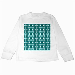 Teal And White Spatula Spoon Pattern Kids Long Sleeve T Shirts
