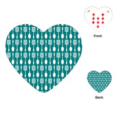 Teal And White Spatula Spoon Pattern Playing Cards (Heart)