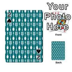 Teal And White Spatula Spoon Pattern Playing Cards 54 Designs