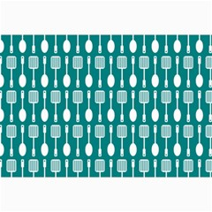 Teal And White Spatula Spoon Pattern Collage 12  X 18