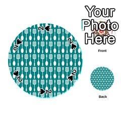 Teal And White Spatula Spoon Pattern Playing Cards 54 (Round)