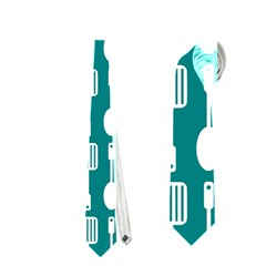Teal And White Spatula Spoon Pattern Neckties (One Side)