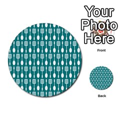 Teal And White Spatula Spoon Pattern Multi-purpose Cards (Round)