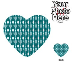 Teal And White Spatula Spoon Pattern Multi-purpose Cards (Heart)