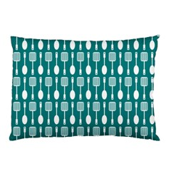 Teal And White Spatula Spoon Pattern Pillow Cases