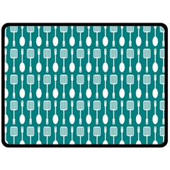 Teal And White Spatula Spoon Pattern Fleece Blanket (Large)