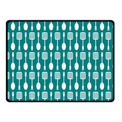 Teal And White Spatula Spoon Pattern Fleece Blanket (Small)