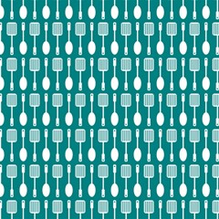 Teal And White Spatula Spoon Pattern Magic Photo Cubes