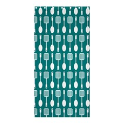 Teal And White Spatula Spoon Pattern Shower Curtain 36  x 72  (Stall)