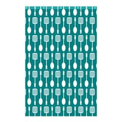 Teal And White Spatula Spoon Pattern Shower Curtain 48  X 72  (small)