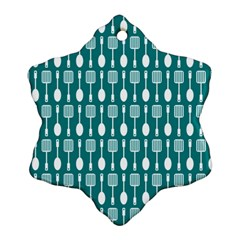Teal And White Spatula Spoon Pattern Snowflake Ornament (2 Side)