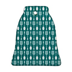 Teal And White Spatula Spoon Pattern Bell Ornament (2 Sides)