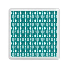 Teal And White Spatula Spoon Pattern Memory Card Reader (square)