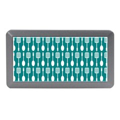 Teal And White Spatula Spoon Pattern Memory Card Reader (Mini)