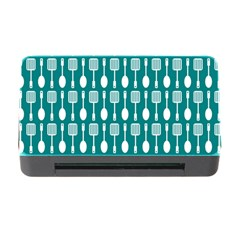 Teal And White Spatula Spoon Pattern Memory Card Reader with CF