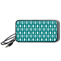Teal And White Spatula Spoon Pattern Portable Speaker (black)