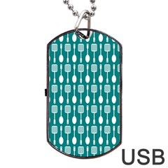 Teal And White Spatula Spoon Pattern Dog Tag Usb Flash (two Sides)