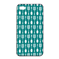 Teal And White Spatula Spoon Pattern Apple iPhone 4/4s Seamless Case (Black)