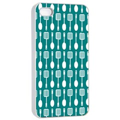 Teal And White Spatula Spoon Pattern Apple iPhone 4/4s Seamless Case (White)