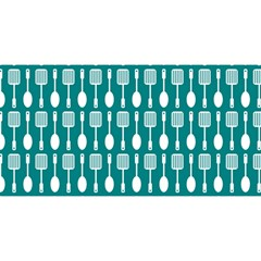 Teal And White Spatula Spoon Pattern You Are Invited 3d Greeting Card (8x4)