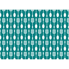 Teal And White Spatula Spoon Pattern Birthday Cake 3d Greeting Card (7x5)