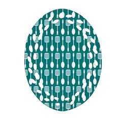 Teal And White Spatula Spoon Pattern Ornament (oval Filigree)